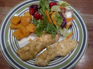 Crumbed chicken with masala spice, garlic roasted butternut and mixed salad