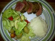 Beef fillet, cauliflower mash and salad