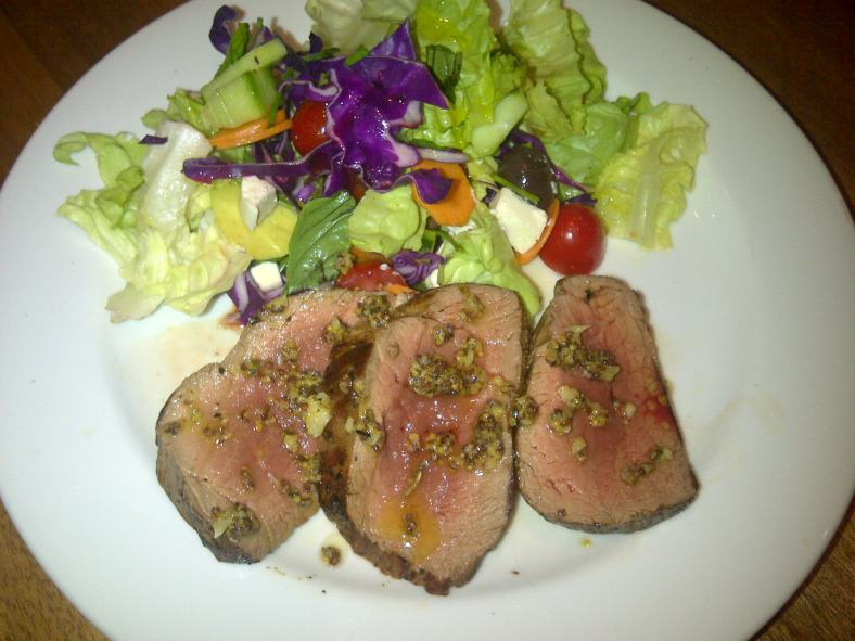 Supper: Beef fillet with herby garlic butter and a mixed salad