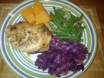 Supper: Pork chop, red cabbage, green beans, pumpkin