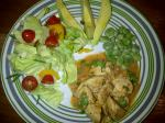 Supper: Prego chicken, salad, avo and broad beans