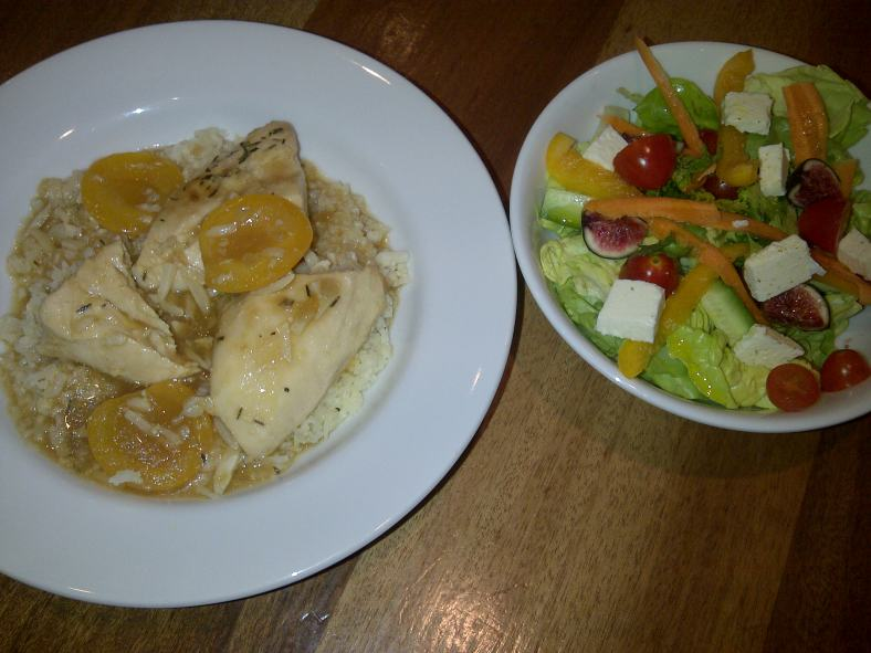 Supper: Apricot chicken over cauliflower rice and a side salad