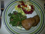 Fillet steak, spinach sauted with bacon and gralic and drop of cream and mixed salad